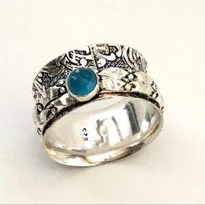Blue Chalcedony Gemstone Spinner Meditation Ring